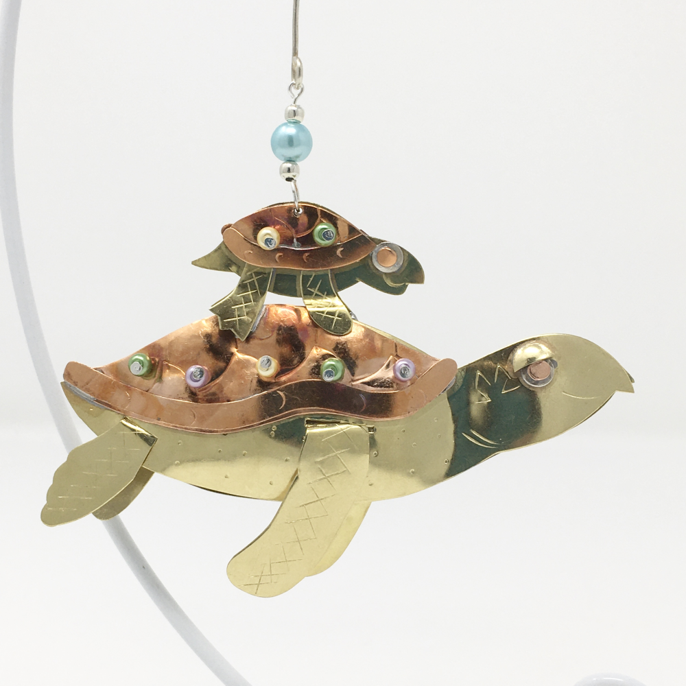 Sea Turtle with Baby Ornament